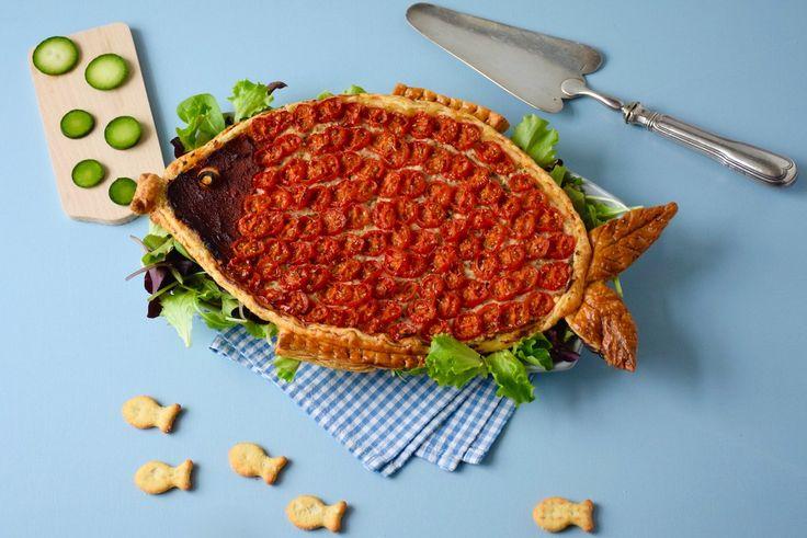 Poisson d'avril! - Tarte en forme de poisson thon-feta-tomates cerises