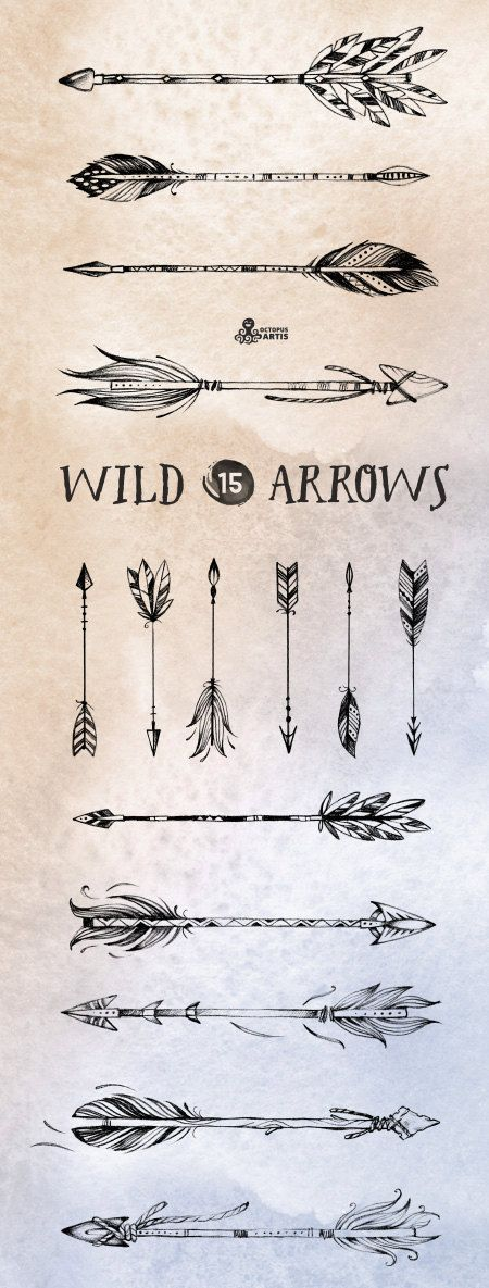 Wild Arrows. 15 hand drawn Clipart. Tribal native por OctopusArtis: