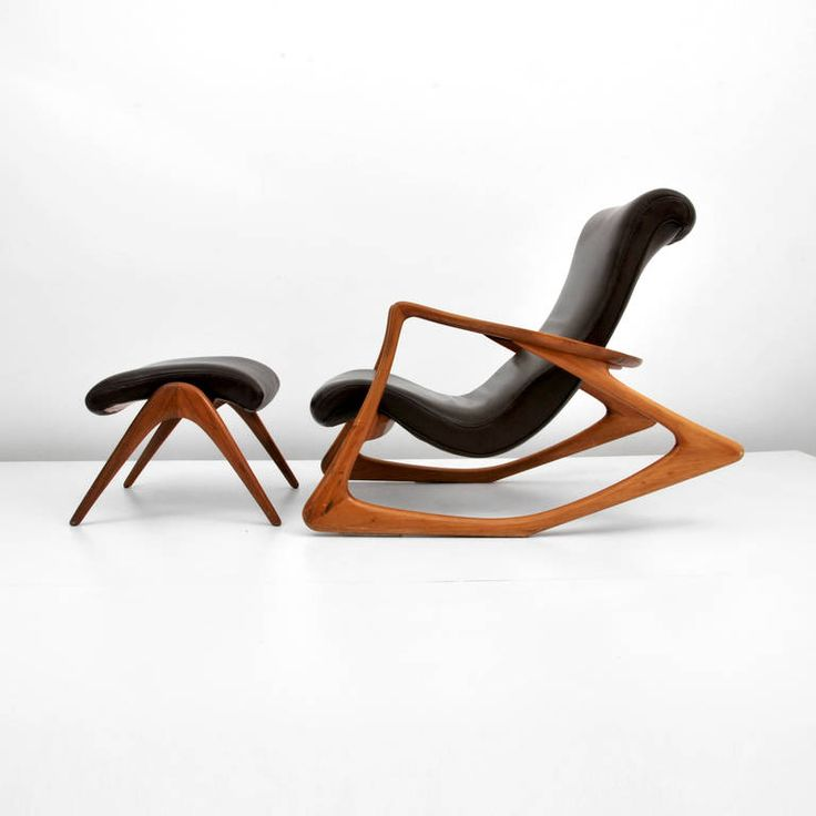 Vladimir Kagan Two Position Contour Rocking Chair and Foot Stool | From a unique collection of antique and modern rocking chairs at https://www.1stdibs.com/furniture/seating/rocking-chairs/