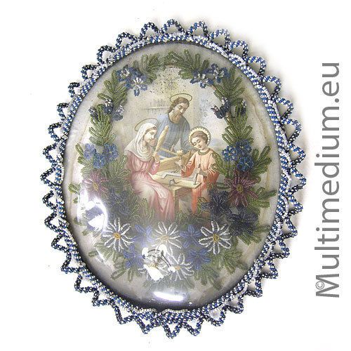 Heiligen bild mit Perlen draht Glas bild Klosterarbeit