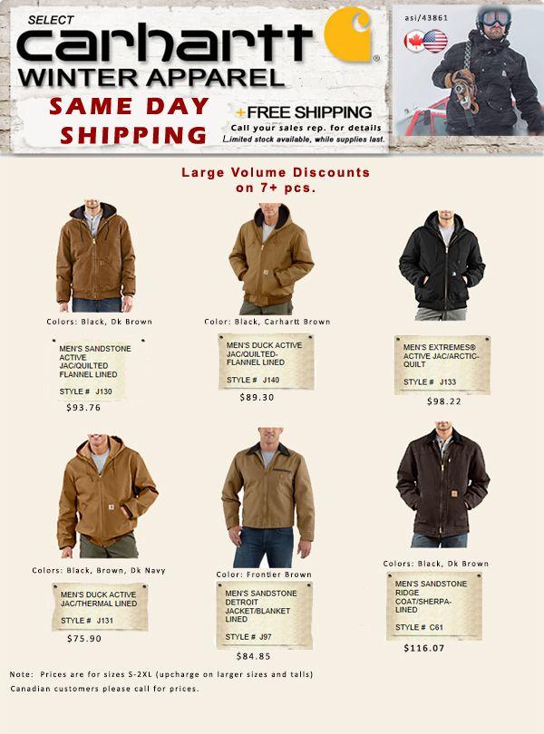 Carhartt Winter Jackets - Same Day Ship!