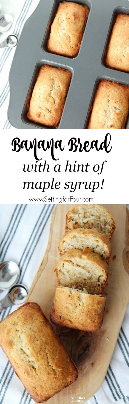 This yummy recipe for banana bread is easy to make, has a hint of maple syrup and is perfectly moist and delicious! Friends and family will love this!