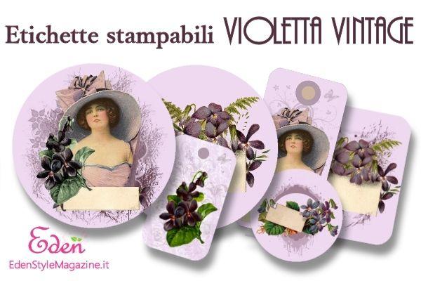 etichette stampabili violetta vintage pr