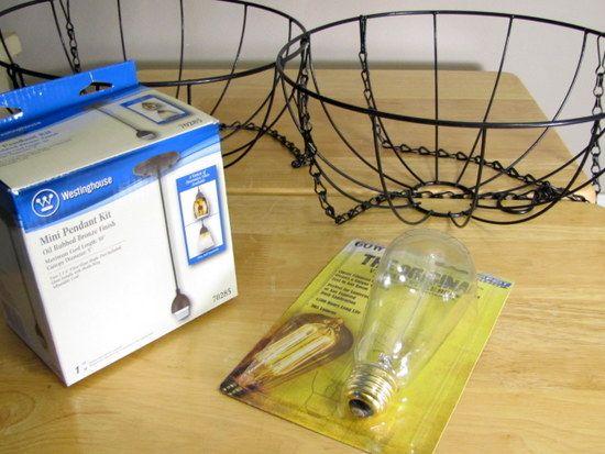 DIY: Hanging garden baskets pendant light...
