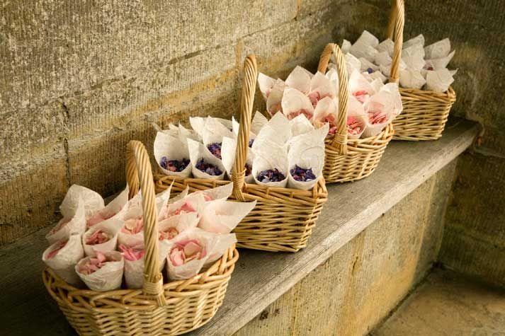 Real flower petal confetti, natural rose petals in wedding cones
