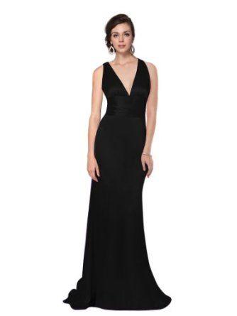 Ever Pretty Trailing V-neck Ruffles Cross Back Empire Waist Bridesmaid Dress 09008, HE09008,