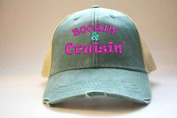 bef433f1510 Boozing and Cruising Distressed Trucker hat women s man s Unisex trucker hat  Best Friend Gift Gym Gift Team Funny Sayings cap Team hat