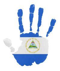 Handprints with Nicaragua flag illustration