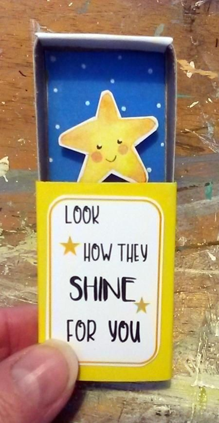 Token gift, valentines, matchbox art, miniature, stars, fiancee, encouragement, present for girlfriend, look how they shine, bridesmaid gift, pocket sized A cute little matchbox holding a smiling star with the words Look how they shine for you *5 cm x 3.7 cm x 1.5 cm approx *£1.50
