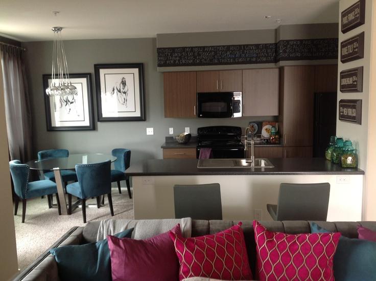Luxury 1 Bedroom Apartment Model: Living Room, Dining Room, & Kitchen