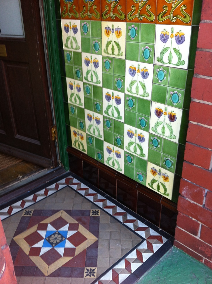 Victorian tiles in all their glory in a Doncaster doorway.