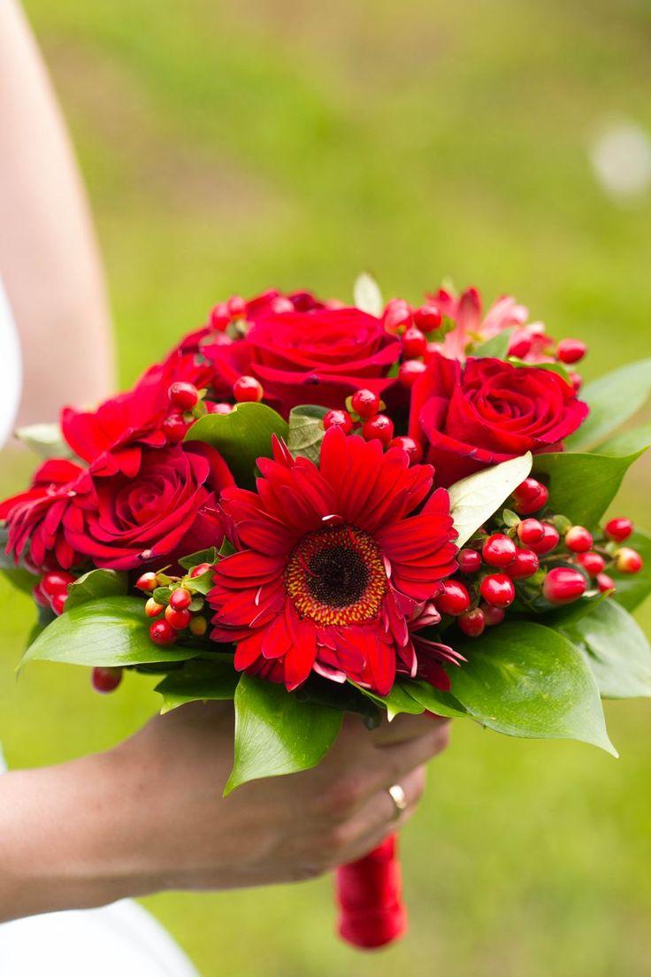 Букет с красными герберами, цветы минск оптом