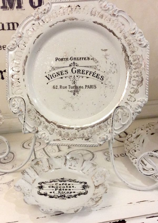 Refinished Silver Antiques - Using chalk paint and transfer graphic The Graphics Fairy