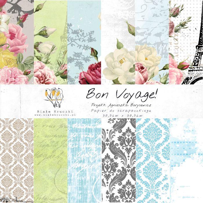 Bon Voyage! - zestaw papierów 30,5 x 30,5cm :: bialekruczki.pl