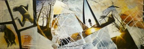 """jump"", Acrylcollage, Monika Stoffel"
