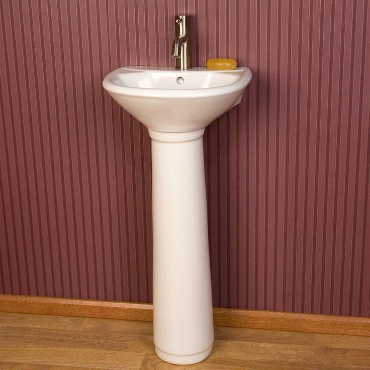 pedestal sink or vanity in small bathroom%0A Farnham Porcelain Mini Pedestal Sink  Pedestal Sink BathroomSmall