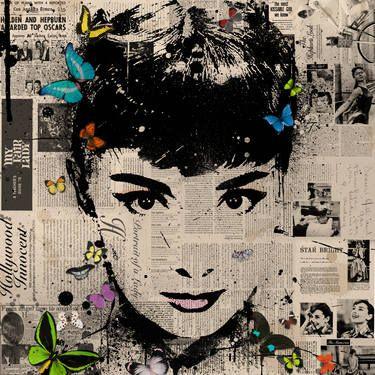 """Audrey Hepburn,"" original portrait print by artist THE HYBRID available at Saatchi Art #SaatchiArt"