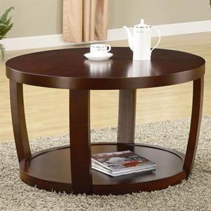 Round Rich Cherry Coffee Table with Base Shelf | Nebraska Furniture Mart