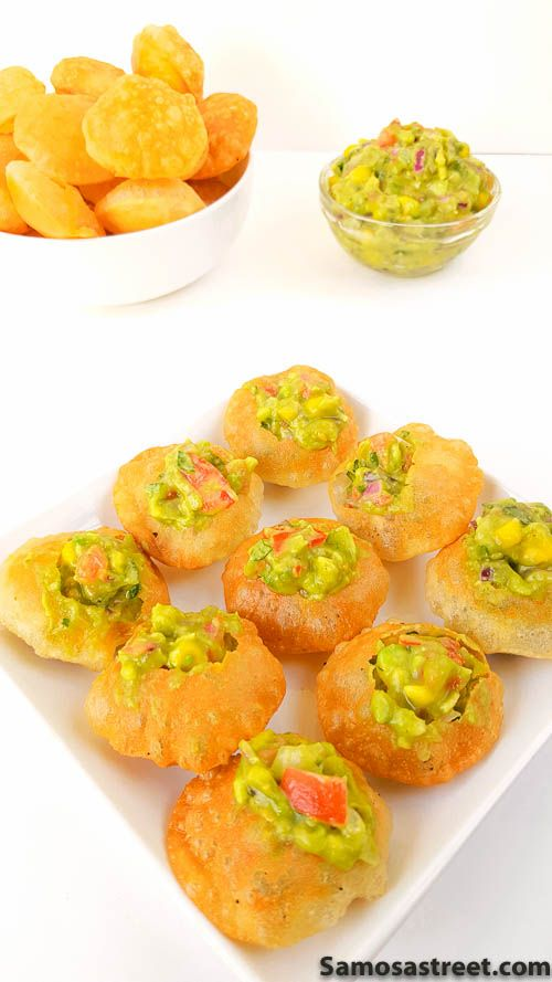 Mexican Golgappa anyone? One of a kind Indian-Mexican fusion snack with a flavorful Avocado Salsa stuffed inside a crispy puri.This is a great mexican indian fusion wedding appetizer idea!