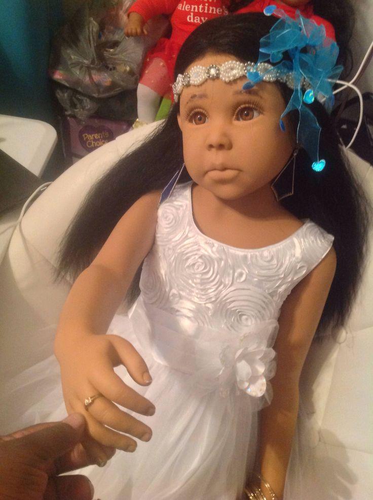 Reborn full vinyl body 46 inch dollDiane Flower girl