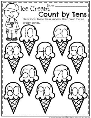 Ice Cream Count by Tens Worksheet for Kindergarten