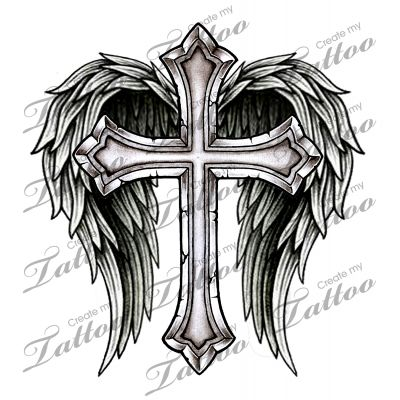 Marketplace Tattoo Cross with Wings #14700 | CreateMyTattoo.com