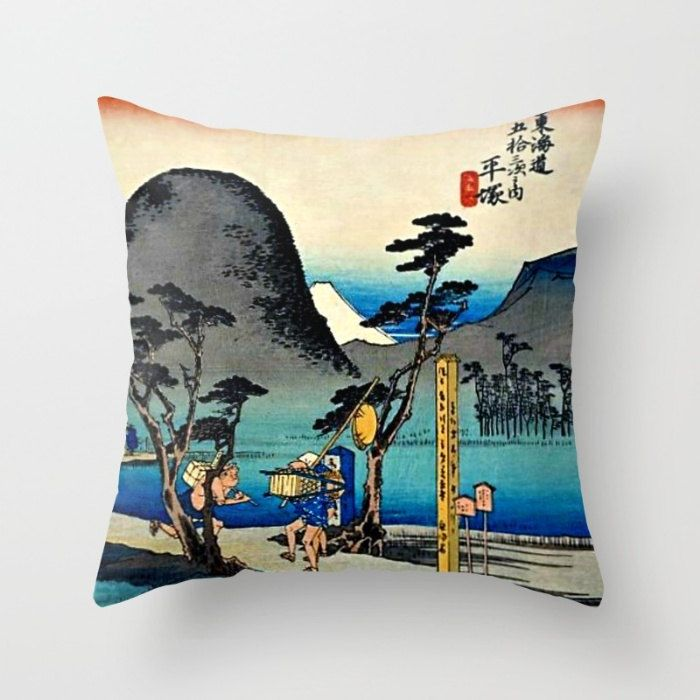 Asian pillow, Asian decor, vintage Asian art, Japanese art, Asian decorative pillow, decorative throw pillow, blue pillow, 18 x 18 pillow by PictorialHistory on Etsy