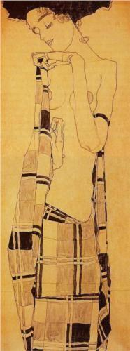 Standing Girl in a Plaid Garment - Egon Schiele