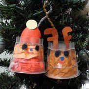 サンタとトナカイの仲良しクリスマス〜プリンカップで作るクリスマス飾り〜