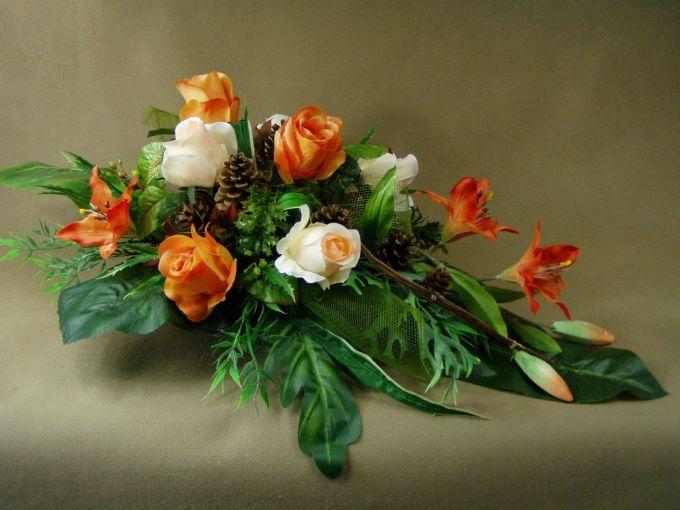 LILIE pomarańcz RÓŻE (2835) KOMPLET NA CMENTARZ STROIK+BUKIET Kompozycje kwiatowe Marko604