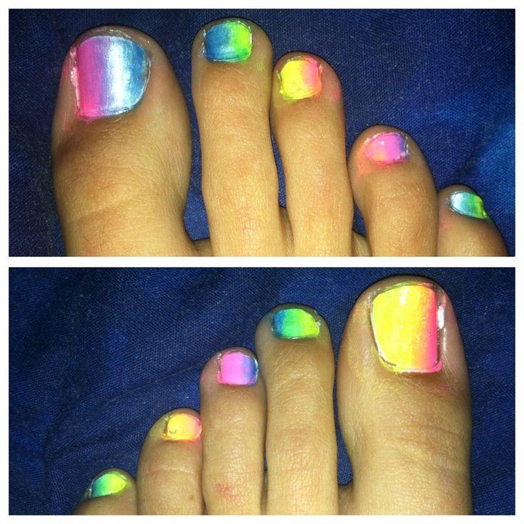 Rainbow toe nails
