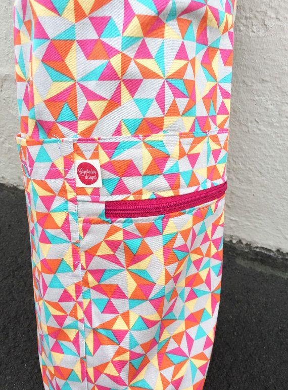 Yoga Mat Bag  Triangle Geo Pink  Handmade  Yoga by Rambutandesigns