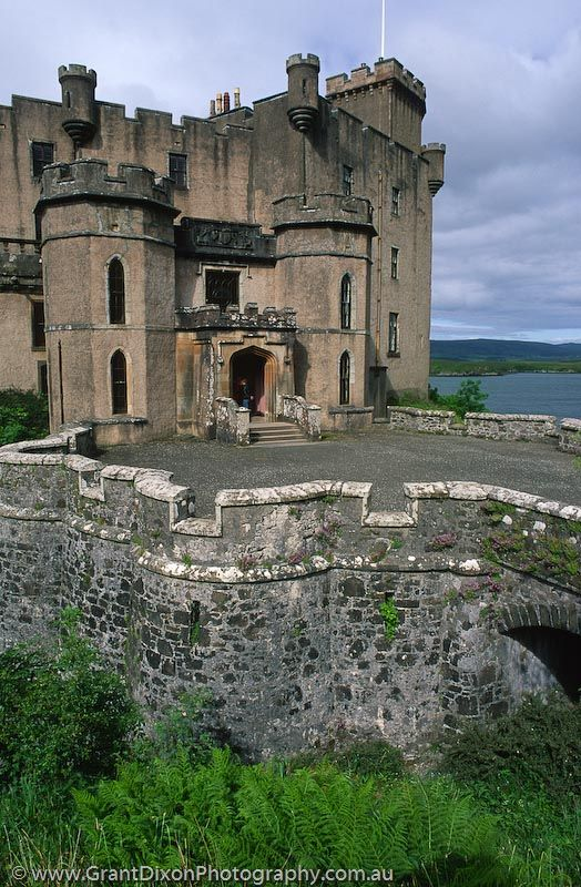 Dunvegan Castle, Isle of Skye, Scotland. It  is the oldest continuously inhabited castle in Scotland and has been the stronghold of the chiefs of the clan MacLeod for 800 years.