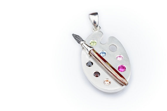 Artist's Paint Palette Pendant. Silver Paint Palette with Mokume Gane Brush and Colorful Cubic Zirconias. One of a kind.