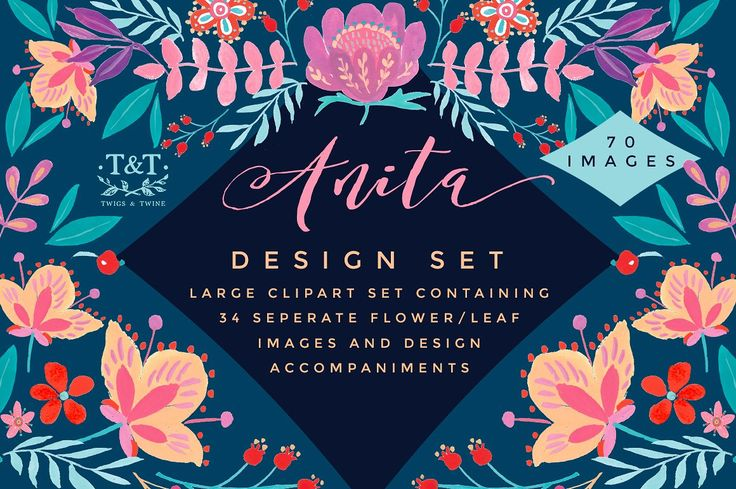 Ad: Hand Painted Floral Clipart Set by Twigs and Twine on Creative Market. It comes with single elements and extra design elements which compliment them. There are repeat pattern tiles, which would be great for printing onto fabric and creating soft furnishings and apparel. There are also many arrangements which would work beautifully for wedding stationary, general invites and so much more. $20 #sponsored