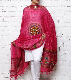 gujarati embroidery mirror work dupattas - Google Search