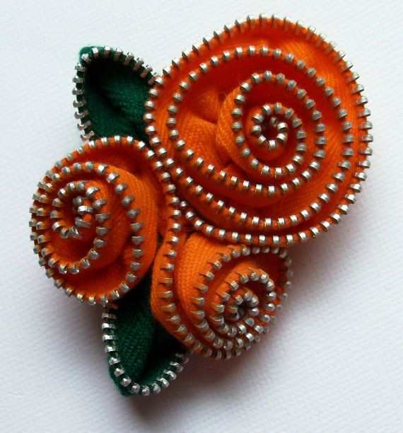 Orange Spiral Floral Brooch / Zipper Pin ❤ by ZipPinning on Etsy, $24.00