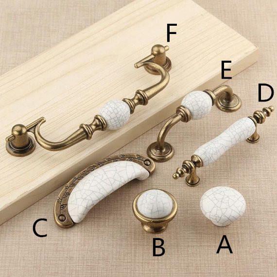 Sourcing map Lot de 6 boutons en c/éramique vintage avec poign/ée de tiroir de meuble de placard de commode Blanc
