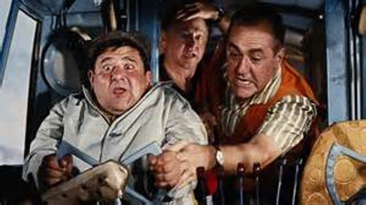 "Buddy Hackett at aircraft controls with Jim Backus and Mickey Rooney on board in ""It's a Mad Mad Mad Mad World"" brilliant 1963 comedy-farce."