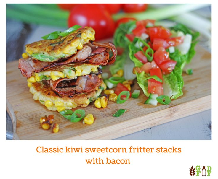 Classic kiwi sweetcorn fritter stacks with bacon