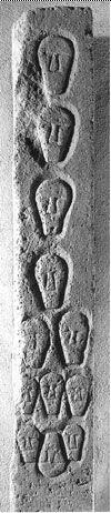 Pilier aux cranes, réemploi d'une sculpture datant probablement du -VI°s, oppidum d'Entremont (détruit vers -100), Musée Granet, Aix en Provence