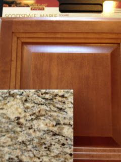 "Maple Cognac kitchen cabinets  / Santa Cecilia granite counter tops ""(what we currently have but would like to change without trashing the granite)"