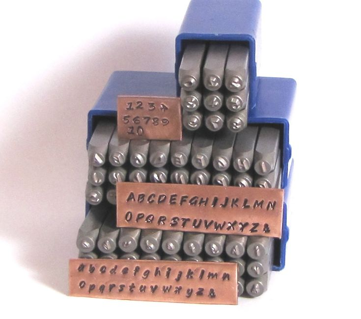 Hand Print font stamps, 2 mm upper lower cases, Steel letter numbers stamps, easy to use