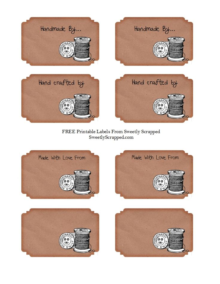 Free Printable Tags for Crafters.  Print on this full sheet adhesive label http://www.onlinelabels.com/ol713.htm