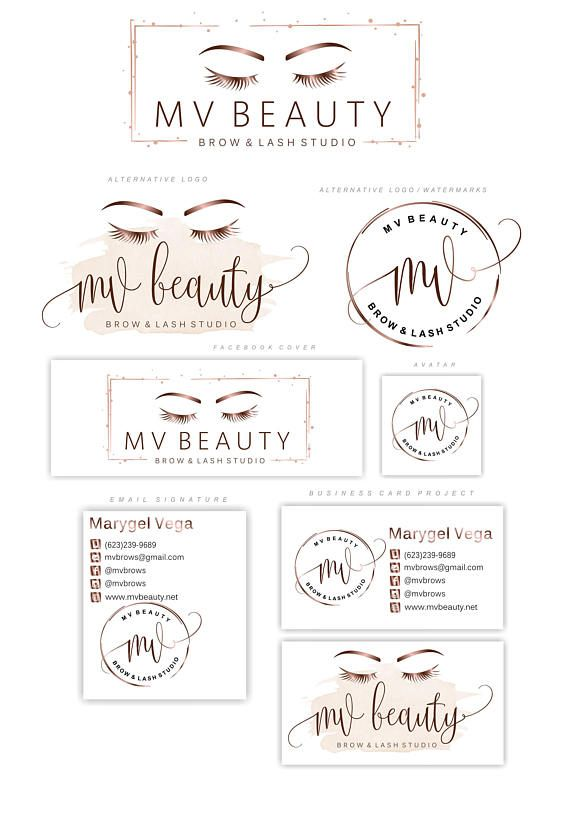 Rose gold Lashes logo, Eyelash extension logo, Cosmetics logo, Branding Kit, Lash Make up logo, Logo Design, Beauty salon, Logo package 44