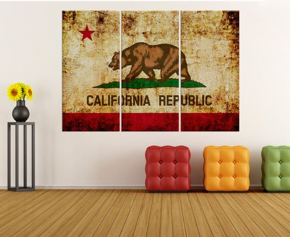 california republic flag wall art canvas Print, wrapped canvas wall art print, extra large canvas art, california flag wall art 8s77
