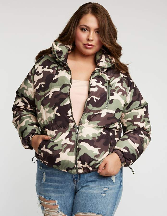 15fbd0028afc4 Charlotte Russe Plus Size Camo Puffer Jacket