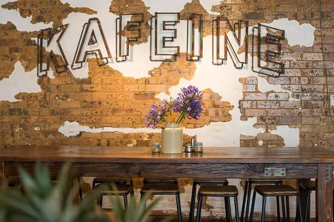 Kafeine Balmain, Sydney  Coffee Shop  Love the wall finish.