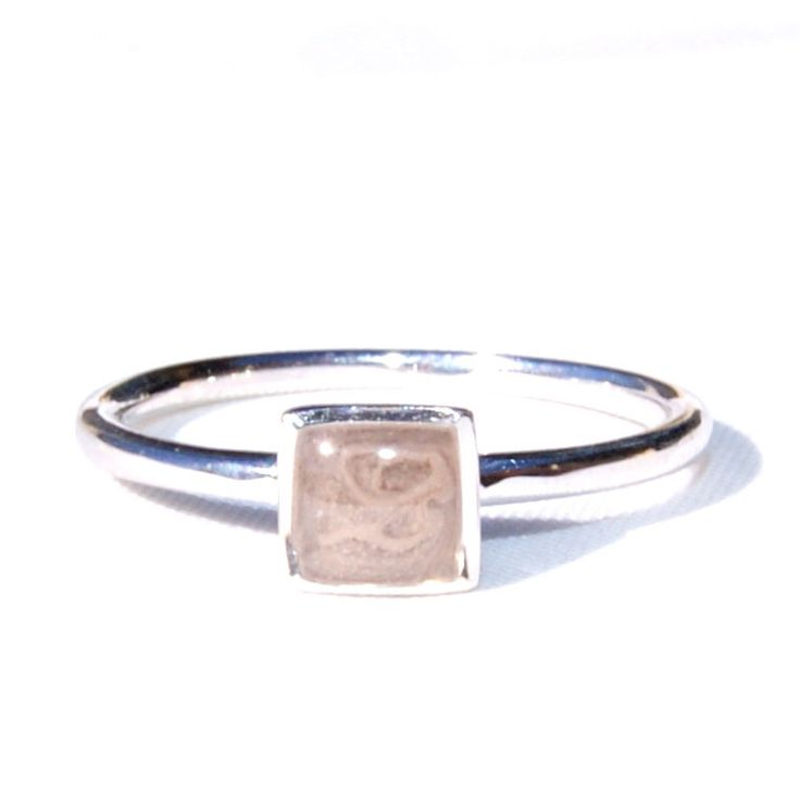 14K White Gold Ring Encompassing Solidified Cremation Ashes by CloseByMe