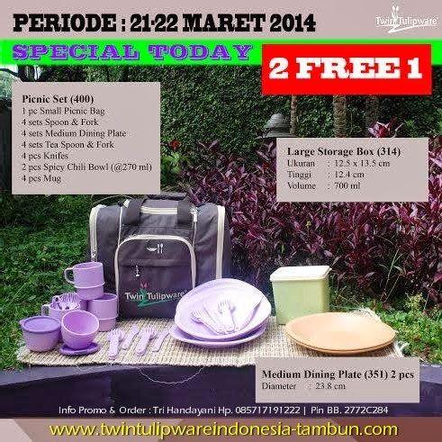 Promo Tulipware 2 Free 1 : Picnic Set, Large Storage Box, Medium Dining Plate Periode 21 - 22 Maret 2014